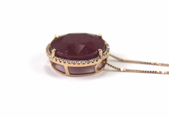Other Oval Cut Red Ruby & Diamond Necklace Pendant 14k Rose Gold 11.18Ct Image 4