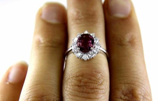 Other Oval Pink Spinel & Diamond Halo Solitaire Ring 14k White Gold 2.29Ct Image 1