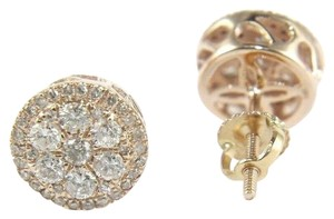 Other Natural Round Cluster Diamond Stud Earrings w/Halo 14K Rose Gold .80Ct
