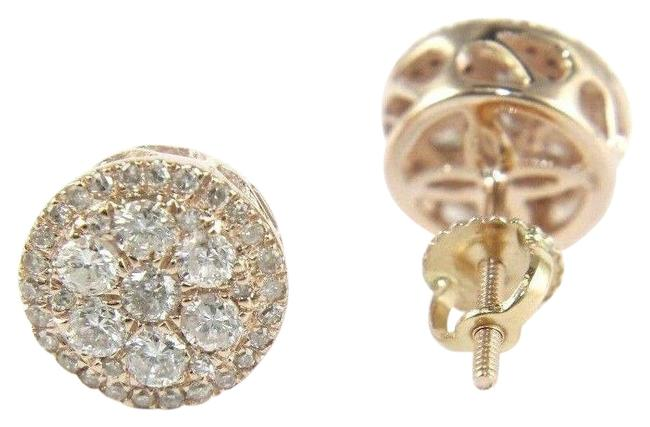White Natural Round Cluster Diamond Stud W/Halo 14k Rose Gold .80ct Earrings White Natural Round Cluster Diamond Stud W/Halo 14k Rose Gold .80ct Earrings Image 1