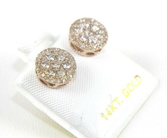 Other Natural Round Cluster Diamond Stud Earrings w/Halo 14K Rose Gold .80Ct Image 1