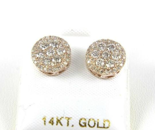 Other Natural Round Cluster Diamond Stud Earrings w/Halo 14K Rose Gold .80Ct Image 2