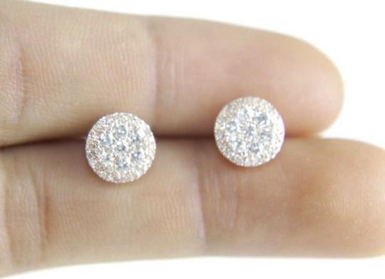 Other Natural Round Cluster Diamond Stud Earrings w/Halo 14K Rose Gold .80Ct Image 3