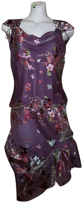 Studio M Purple Silk Floral Blouse and Skirt Set Mid-length Night Out Dress Size Petite 6 (S) Studio M Purple Silk Floral Blouse and Skirt Set Mid-length Night Out Dress Size Petite 6 (S) Image 1