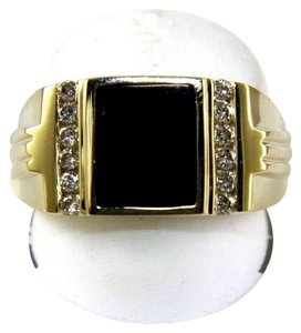 Other Square Black Onyx & Diamond Men's Solitaire Ring 14k Yellow Gold .25Ct