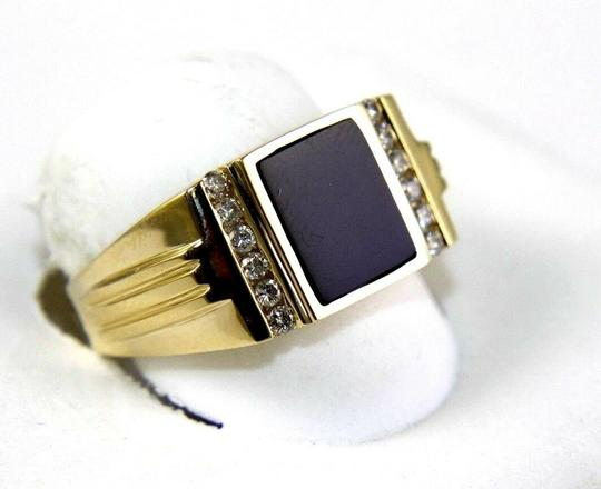 Other Square Black Onyx & Diamond Men's Solitaire Ring 14k Yellow Gold .25Ct Image 1