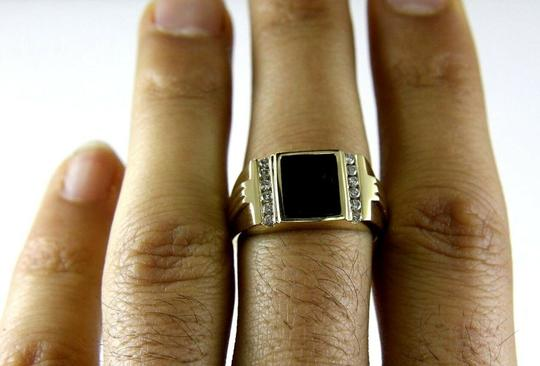 Other Square Black Onyx & Diamond Men's Solitaire Ring 14k Yellow Gold .25Ct Image 3
