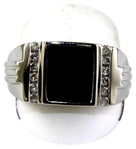 Other Square Black Onyx & Diamond Men's Solitaire Ring 14k White Gold .25Ct
