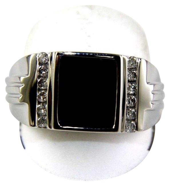 Black Square Onyx & Diamond Men's Solitaire 14k White Gold .25ct Ring Black Square Onyx & Diamond Men's Solitaire 14k White Gold .25ct Ring Image 1