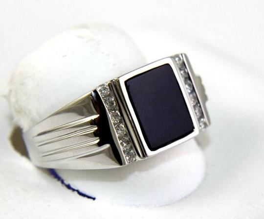 Other Square Black Onyx & Diamond Men's Solitaire Ring 14k White Gold .25Ct Image 1