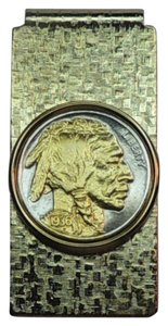 J&J Coin Jewelry 2-Toned Gold on Silver Old U. S. Indian Nickel (Hinged) Money Clip