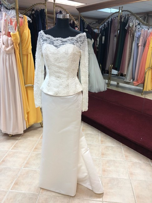 Anjolique Ivory Lace and Satin Classic Sheath Gown with Sleeves Modest Wedding Dress Size 8 (M) Anjolique Ivory Lace and Satin Classic Sheath Gown with Sleeves Modest Wedding Dress Size 8 (M) Image 1