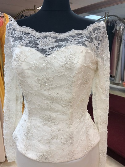 Anjolique Ivory Lace and Satin Classic Sheath Gown with Sleeves Modest Wedding Dress Size 8 (M) Image 1