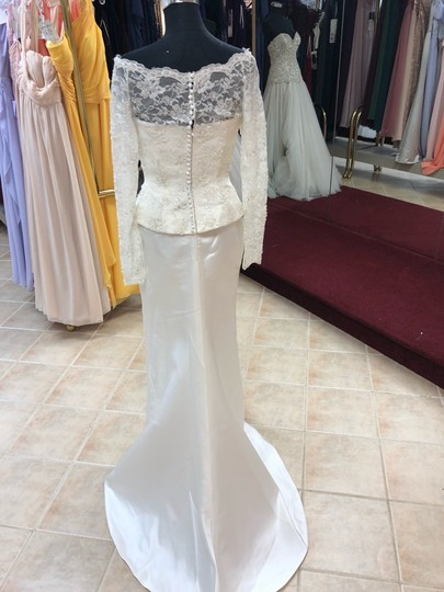 Anjolique Ivory Lace and Satin Classic Sheath Gown with Sleeves Modest Wedding Dress Size 8 (M) Image 4