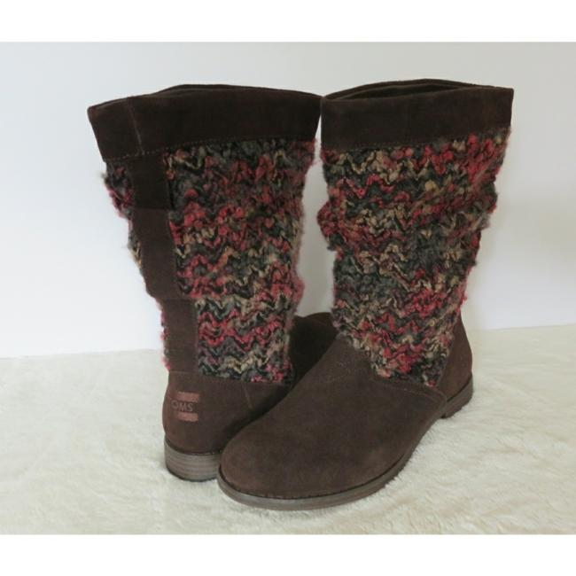 Item - Brown Pink Sweater Knit Slouch Suede Mid Calf Boots/Booties Size US 7.5 Regular (M, B)
