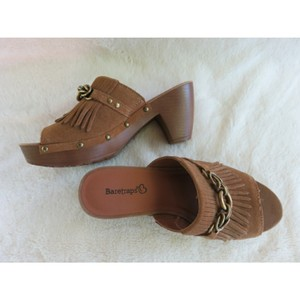 Bare Traps Brown And Brass Mules