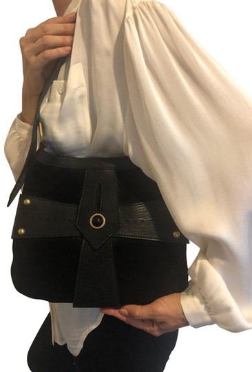 Preload https://img-static.tradesy.com/item/25722593/saint-laurent-ysl-in-and-black-leather-suede-gold-hardware-shoulder-bag-0-1-540-540.jpg