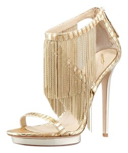 Brian Atwood Platform Leather Gold Sandals