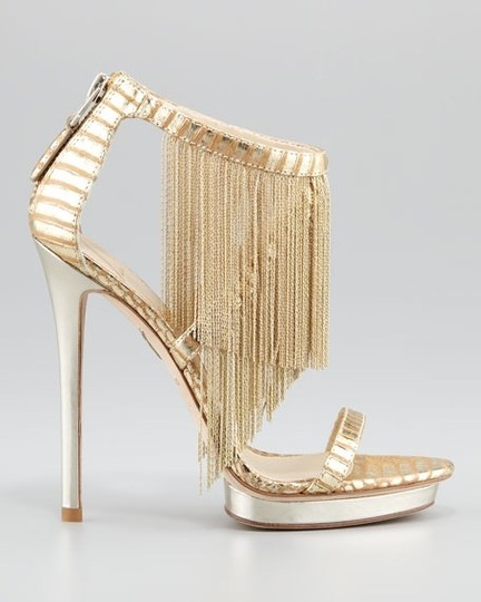 Brian Atwood Platform Leather Gold Sandals Image 1