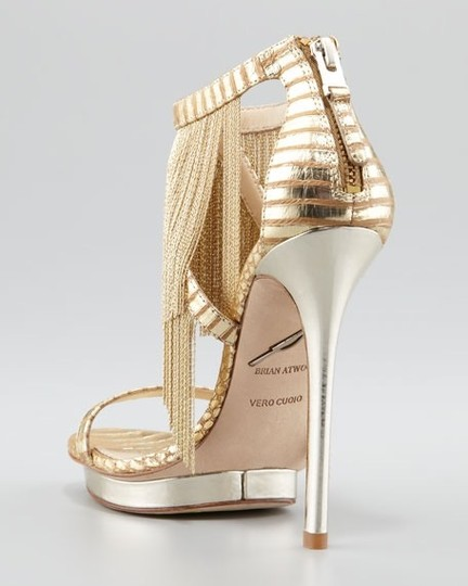 Brian Atwood Platform Leather Gold Sandals Image 2