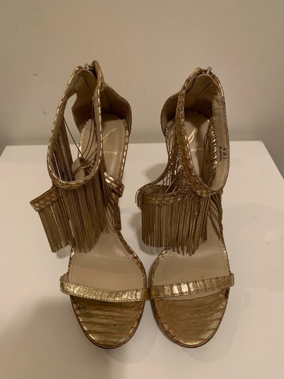 Brian Atwood Platform Leather Gold Sandals Image 3
