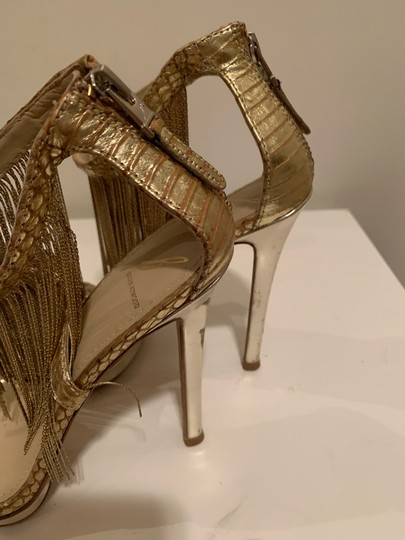 Brian Atwood Platform Leather Gold Sandals Image 4