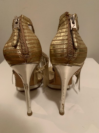 Brian Atwood Platform Leather Gold Sandals Image 5