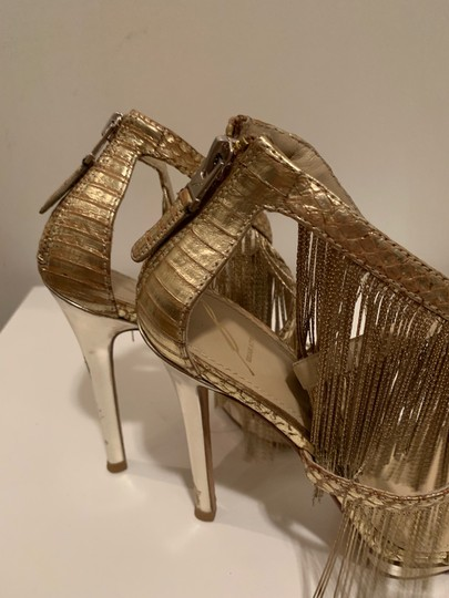 Brian Atwood Platform Leather Gold Sandals Image 6