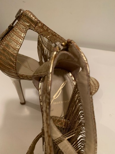 Brian Atwood Platform Leather Gold Sandals Image 7