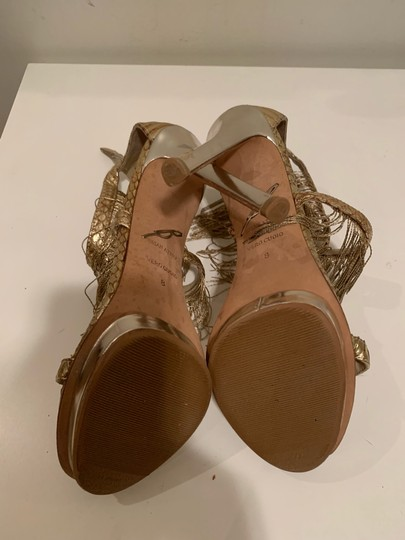 Brian Atwood Platform Leather Gold Sandals Image 8