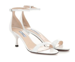 Prada Patent Leather Slingback Halo Strap Patent Wedding White Sandals