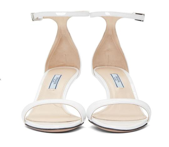 Prada Patent Leather Slingback Halo Strap Patent Wedding White Sandals Image 1