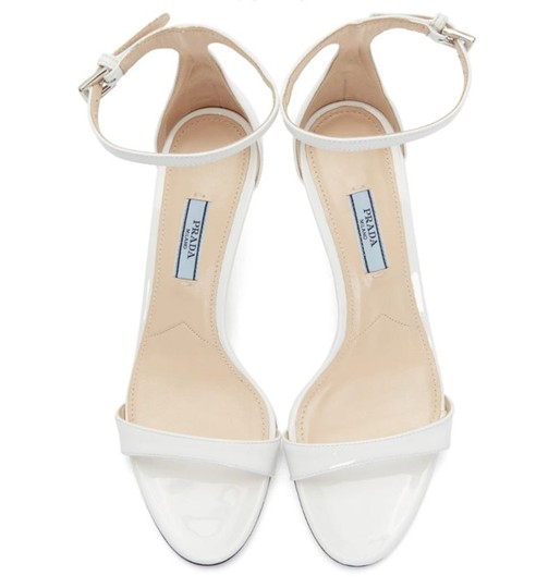Prada Patent Leather Slingback Halo Strap Patent Wedding White Sandals Image 2