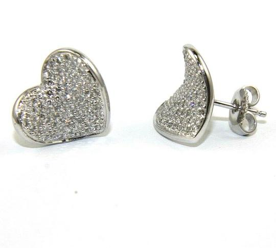 Other Round Diamond Heart Pave Cluster Stud Earrings 14K White Gold .90Ct Image 1
