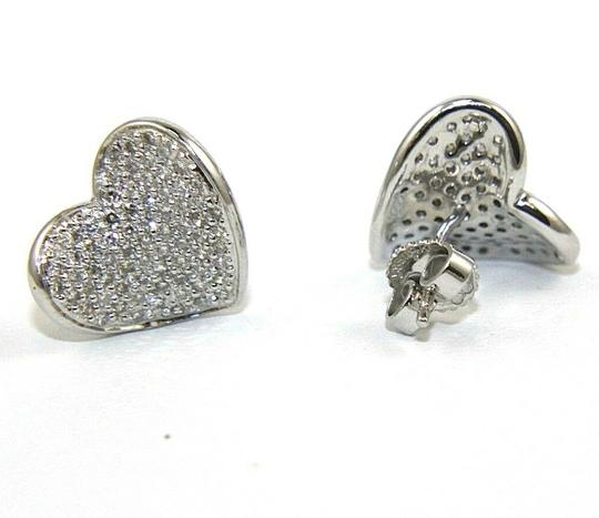 Other Round Diamond Heart Pave Cluster Stud Earrings 14K White Gold .90Ct Image 2