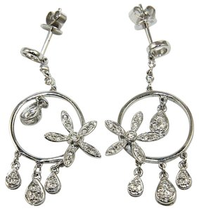 Other Round Diamond Flower Cluster Drop/Dangle Earrings 18K White Gold .52Ct
