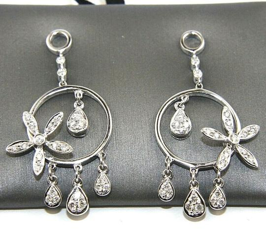Other Round Diamond Flower Cluster Drop/Dangle Earrings 18K White Gold .52Ct Image 2