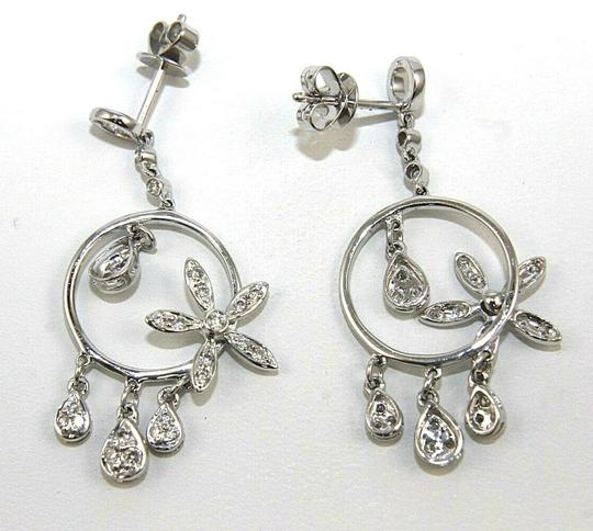 Other Round Diamond Flower Cluster Drop/Dangle Earrings 18K White Gold .52Ct Image 3