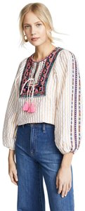 Figue Embroidered Striped Tassels Top White, Gold