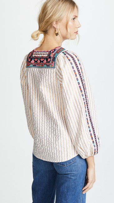 Figue Embroidered Striped Tassels Top White, Gold Image 1