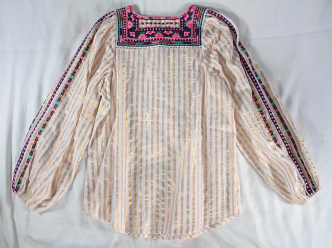 Figue Embroidered Striped Tassels Top White, Gold Image 11
