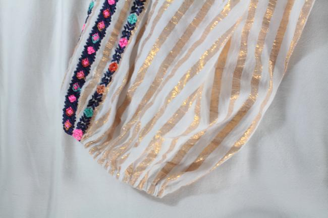 Figue Embroidered Striped Tassels Top White, Gold Image 9