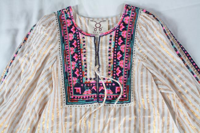 Figue Embroidered Tie Neck Top White, Gold Image 4