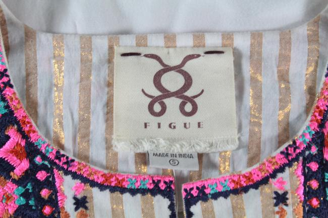 Figue Embroidered Lurex Top White, Gold Image 7