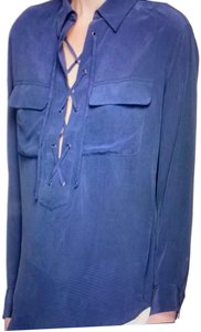 Equipment Silk Lace Up Long Sleeve Placket Top blue