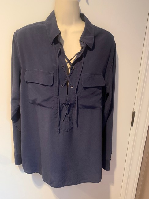 Equipment Silk Lace Up Long Sleeve Placket Top blue Image 1