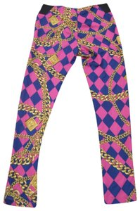 nicki minaj Harlequin Gold Chain Print Stretchy Hot Pink Leggings