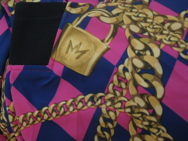 nicki minaj Harlequin Gold Chain Print Stretchy Hot Pink Leggings Image 3