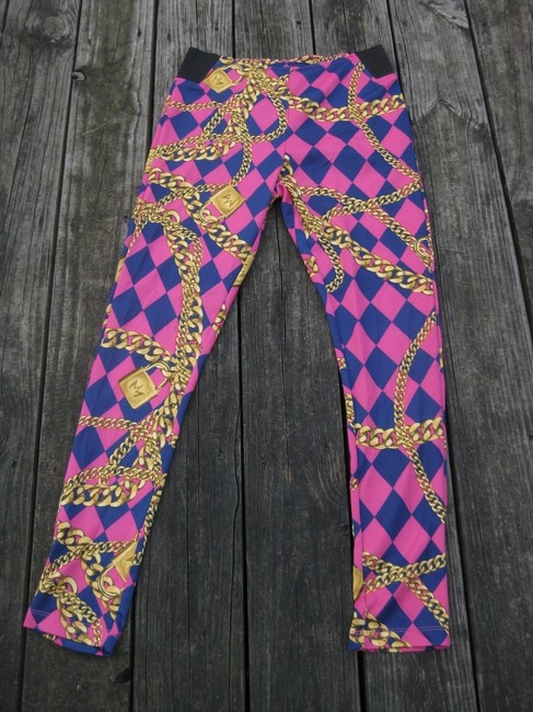 nicki minaj Harlequin Gold Chain Print Stretchy Hot Pink Leggings Image 5