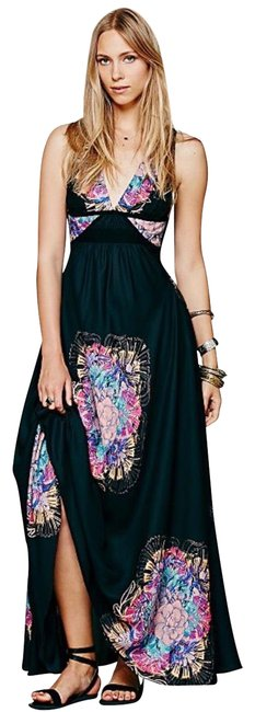 Item - Black/Multi Fp New Romantics Fujiyama Mama Long Casual Maxi Dress Size 2 (XS)